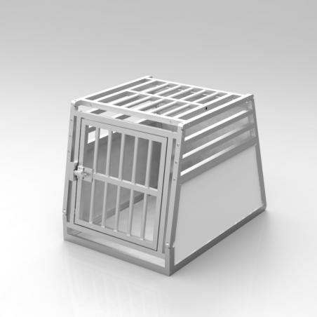 A14A - Caisse de transport simple pour chien - plafond barreaudé en aluminium anodisé et 3 aérations latérales