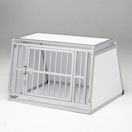A14B caisse de transport classique Braveur® - simple compartiment large pour 1 ou 2 chiens - Alu & pvc