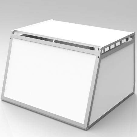 Caisse de transport classique double pour 2 chiens - Aluminium & PVC -  Fabrication française sur-mesure