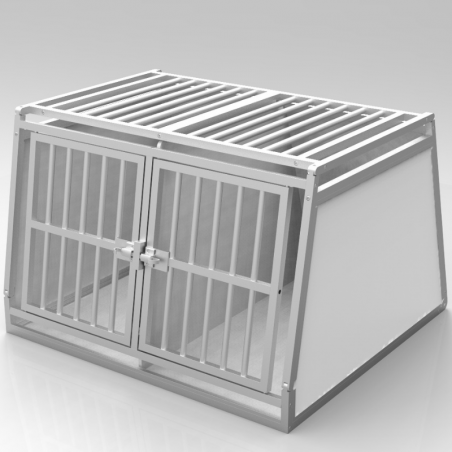 Caisse de transport classique double : 2 chiens - Aluminium & PVC -  plafond barreaudé