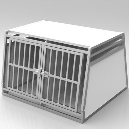 Caisse de transport classique double : 2 chiens - plafond plein + 2 aérations latérales