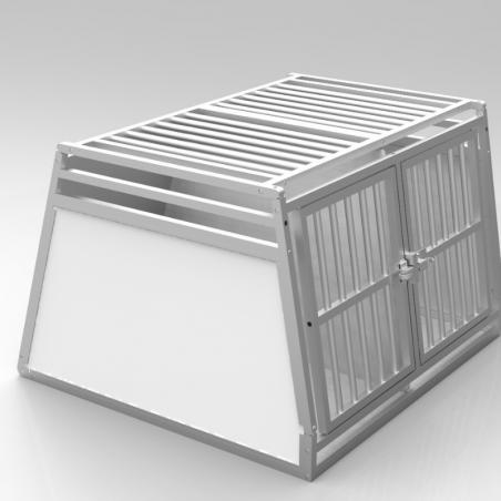 Caisse de transport classique double : 2 chiens - plafond barreaudé en Alu + 2 aérations latérales