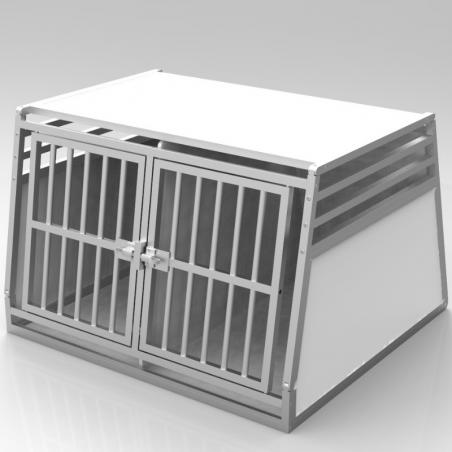 Caisse de transport classique double : 2 chiens - plafond plein + 3 aérations latérales