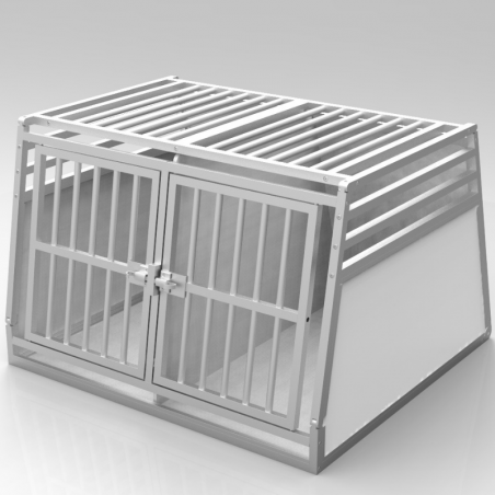 Caisse de transport classique double : 2 chiens - plafond barreaudé alu + 3 aérations latérales