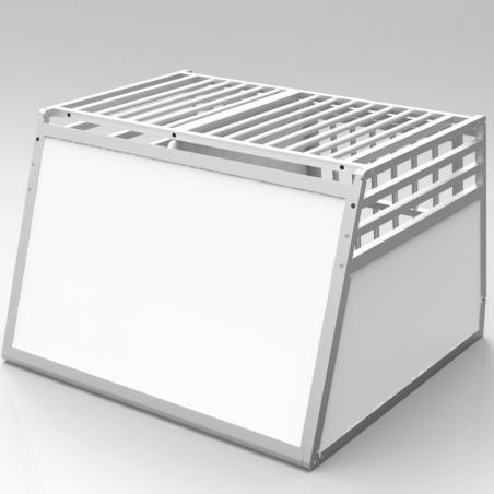 Caisse double avec séparation fixe, décalée pour chiens de tailles différentes - plafond barreaudé alu + 3 aérations latérales