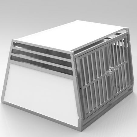 Caisse double avec séparation fixe, décalée pour chiens de tailles différentes - plafond plein + 3 aérations latérales