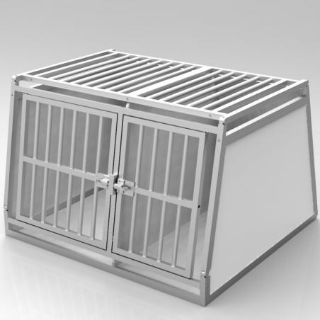 Caisse double avec séparation fixe, décalée pour chiens de gabarits différentes - plafond barreaudé alu + 1 aération latérale