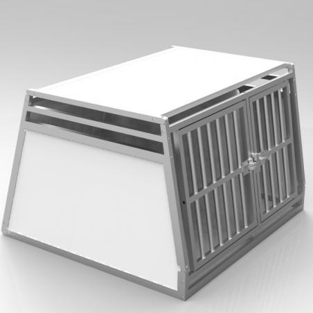 Caisse double avec séparation fixe, décalée pour chiens de gabarits différentes - plafond plein + 2 aérations latérales