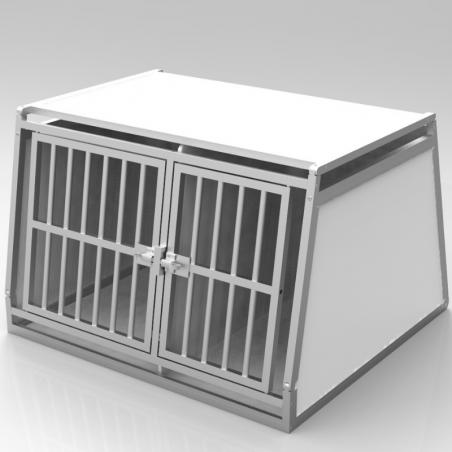 Caisse double avec séparation fixe, décalée pour chiens de races différentes - plafond plein + 1 aération latérale