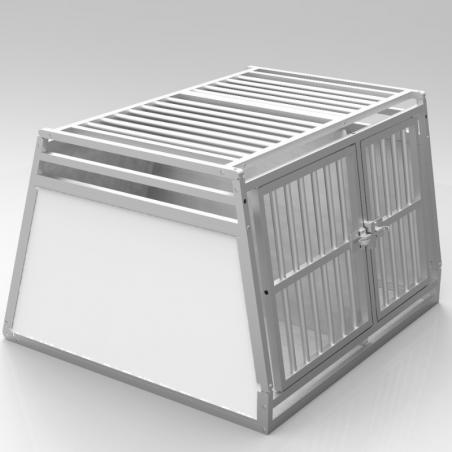 Caisse double avec séparation fixe, décalée pour chiens de tailles différentes - plafond barreaudé alu + 2 aérations latérale