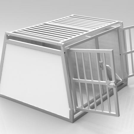 Caisse double avec séparation amovible - plafond barreaudé alu + 1 aération latérale