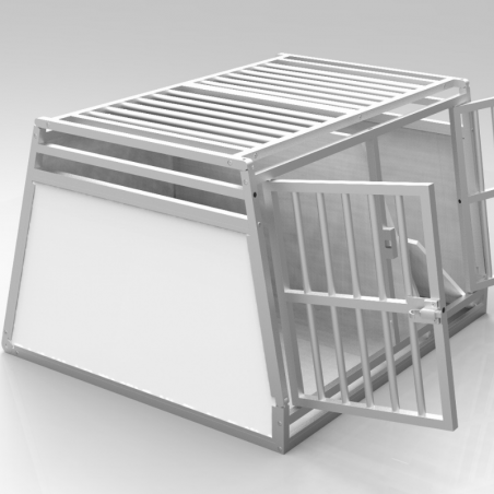 Caisse double avec séparation amovible - plafond barreaudé alu + 2 aérations latérales