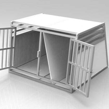 Caisse double avec séparation amovible - plafond plein + 3 aérations latérales