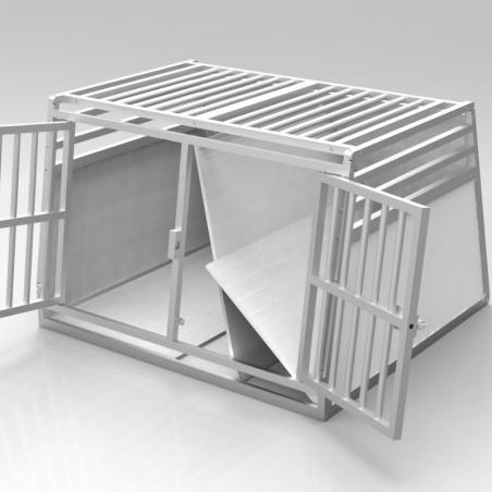 Caisse double avec séparation amovible - plafond barreaudé alu + 3 aérations latérales