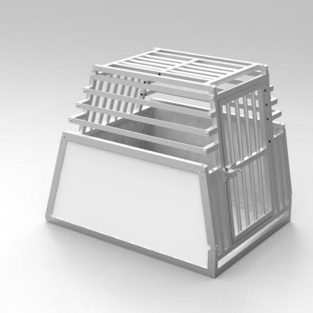 Caisse de transport simple Confort + pour 1 chien - Plafond avec barreaudage aluminium