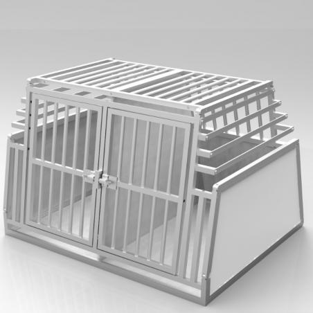 Caisse de transport double confort + plafond barreaudé et parois biseautées en aluminium anodisé