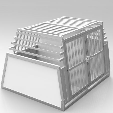 Caisse double confort + plafond barreaudé + parois biseautées en aluminium