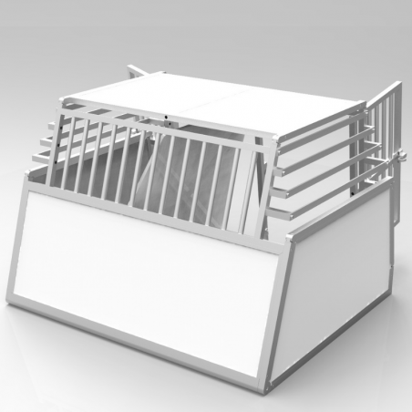 Caisse double confort + plafond plein PVC, parois biseautées Alu - séparation amovible