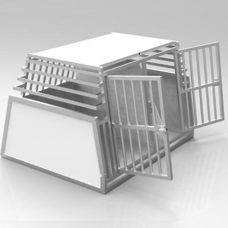 Caisse de transport double confort + plafond plein en PVC, parois biseautées en alu - séparation amovible
