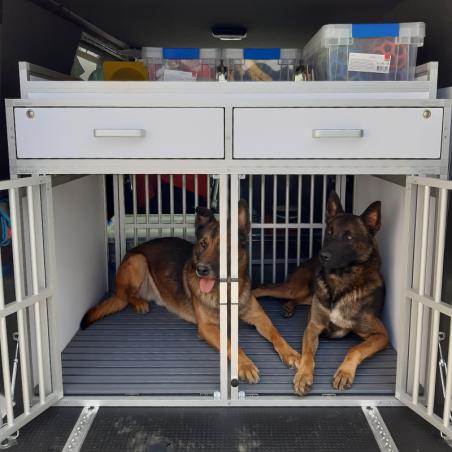 Peugeot Expert équipé d'une caisse de transport double pour 2 chiens Malinois plus 2 tiroirs et 1 galerie haute  de rangement