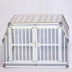 Caisse de transport pour 2 chiens double avec plafond ajouré