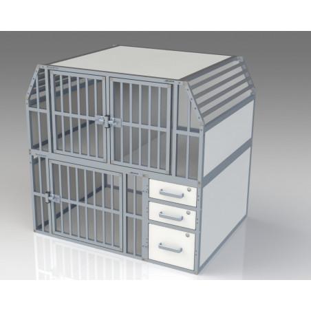 Aménagement véhicule pour transport canin : Composition 3 compartiments + 3 tiroirs