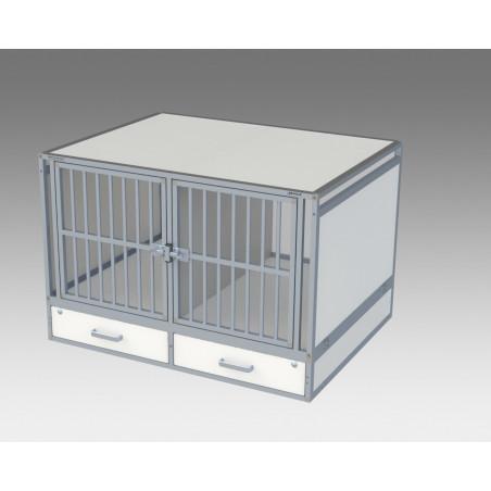 Composition arrière pour véhicule utilitaire avec 2 compartiments pour les chiens et 2 tiroirs
