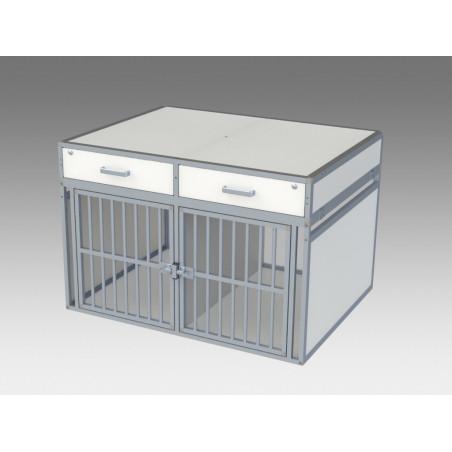 Aménagement véhicule canin : 1 caisse de transport double et 2  tiroirs de rangement - Braveur® sur-mesure