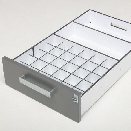 Casier de rangement de flacons  de 100ml pour aménager l'intérieur du tiroir d'une pharmacie vétérinaire Braveur
