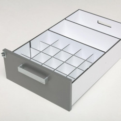 Agencement tiroir pharmacie : casier pour flacons 250 ml