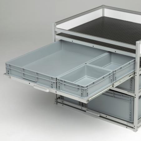 3 Bacs de rangement plastiques - meuble véhicule professionnel