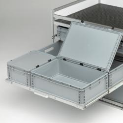 Couvercle avec charnière pour bac plastique  400x300 - Agencement Craft véhicule utilitaire