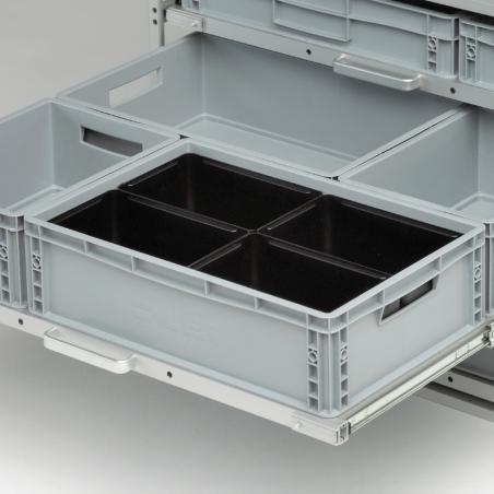 4 bacs noirs pour diviser 1 bac plastique 600x400 - Agencement Craft véhicule utilitaire