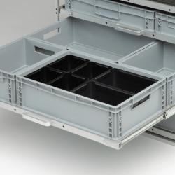6 bacs noirs pour diviser 1 bac plastique 600x400- Agencement Craft véhicule utilitaire