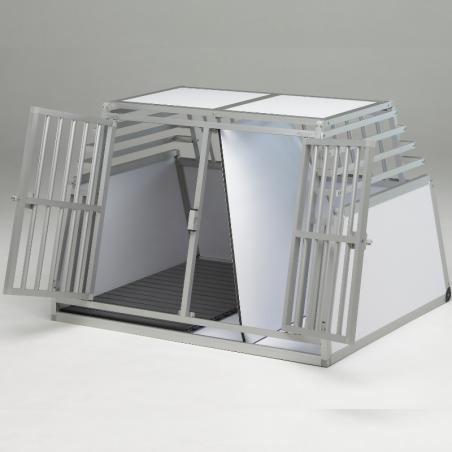 Exemple de Caisse de transport Double confort + avec séparation amovible et plancher caillebotis