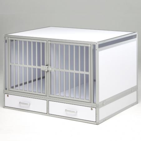 Composition 2  compartiments + 2 tiroirs de rangement pour le transport de chiens dans un véhicule utilitaire