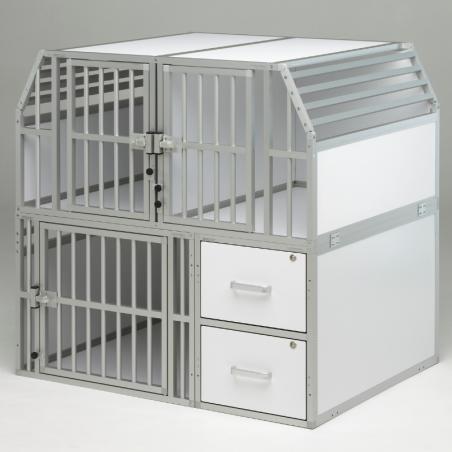 Aménagement pour véhicule utilitaire avec une composition 3 compartiments pour chiens et 2 tiroirs de rangement