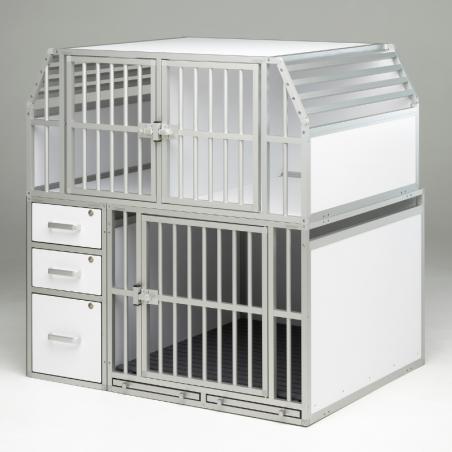 Aménagement spécial véhicule utilitaire composé de 3 compartiments pour les chiens et de 3 tiroirs de rangement - Braveur®