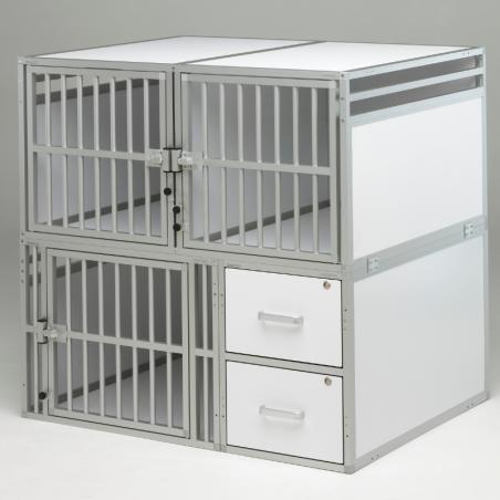 Aménagement véhicule utilitaire  : Composition 3 compartiments canin + 2 tiroirs - Braveur® sur-mesure